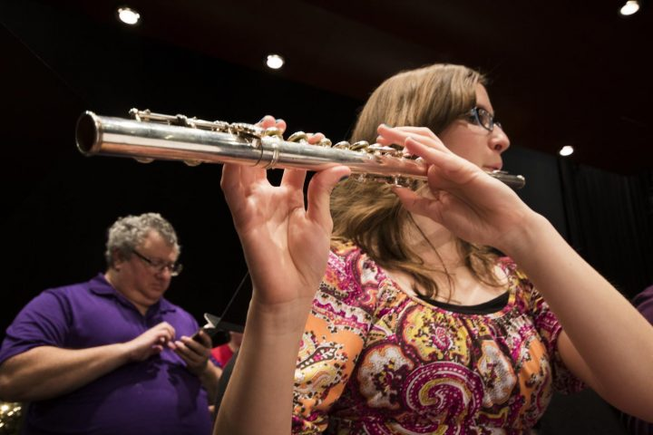 Rebecca Stroup plays the flute on Mar. 8 at American River College. (Photo by Ashley Hayes-Stone)