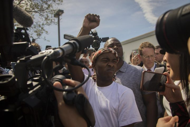 Stevante Clark speaks to the media regarding his brother Stephon Clark's death at the Bayside of South Sacramento Church on March 29, 2018. (photo by Ashley Hayes-Stone)