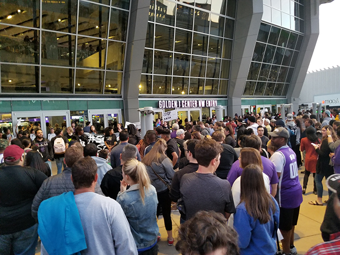 Sacramento Kings fans were prevented from entering the Golden 1 Center after protestors blocked all openings on March 27, 2018. This was the second such protest in the last week after the fatal shooting of Stephon Clark. (Photo by Hannah Yates)