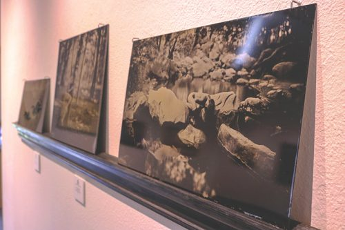 """Emilie in the Streambed"" by Luther Gerlach sits on display in the james Kaneko Gallery on April 5. (Photo by Jennah Booth)"