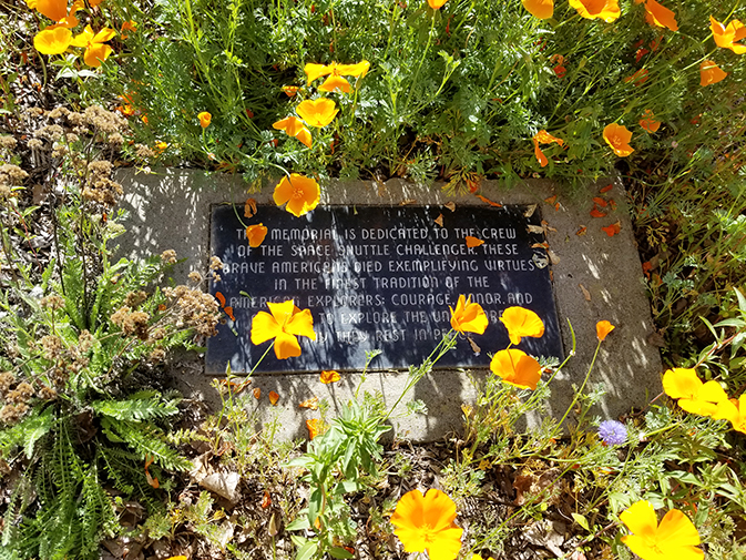 "A plaque dedicated to the memory of the ""Challenger"" space shuttle crew lies outside of the Engeneering and Physics department on April 3 at American River College. (Photo by Mack Ervin III)"