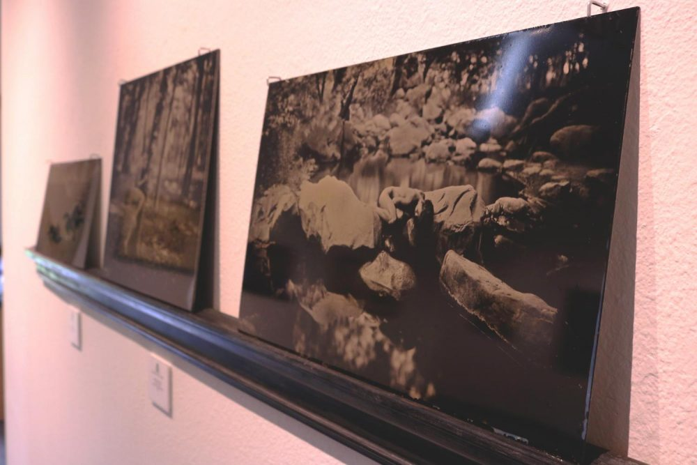 """""""Emilie in the Streambed"""" by Luther Gerlach sits in the Kaneko Gallery on April 5, 2018. (Photo by Jennah Booth)"""