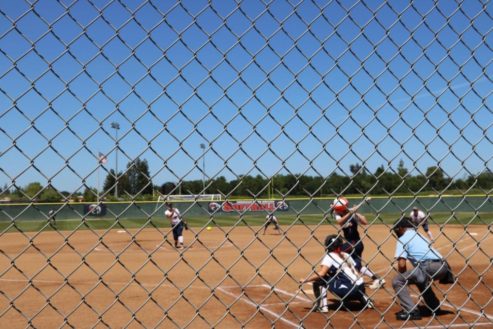 American River College pitcher Zinnia Thewlis pitches to a Cosumnes River College player on April 21. ARC won 10-2. (Photo by Alondra Botello)