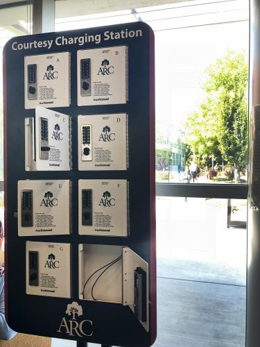 The new charging station stands in the Student Center at American River College on Aug. 27. (Photo by Alexus Hurtado)