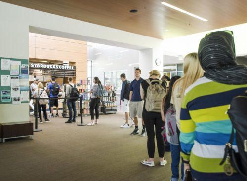 Students wait in line at American River College's Starbucks location on Aug. 28, 2018. (Photo by Ashley Hayes-Stone)