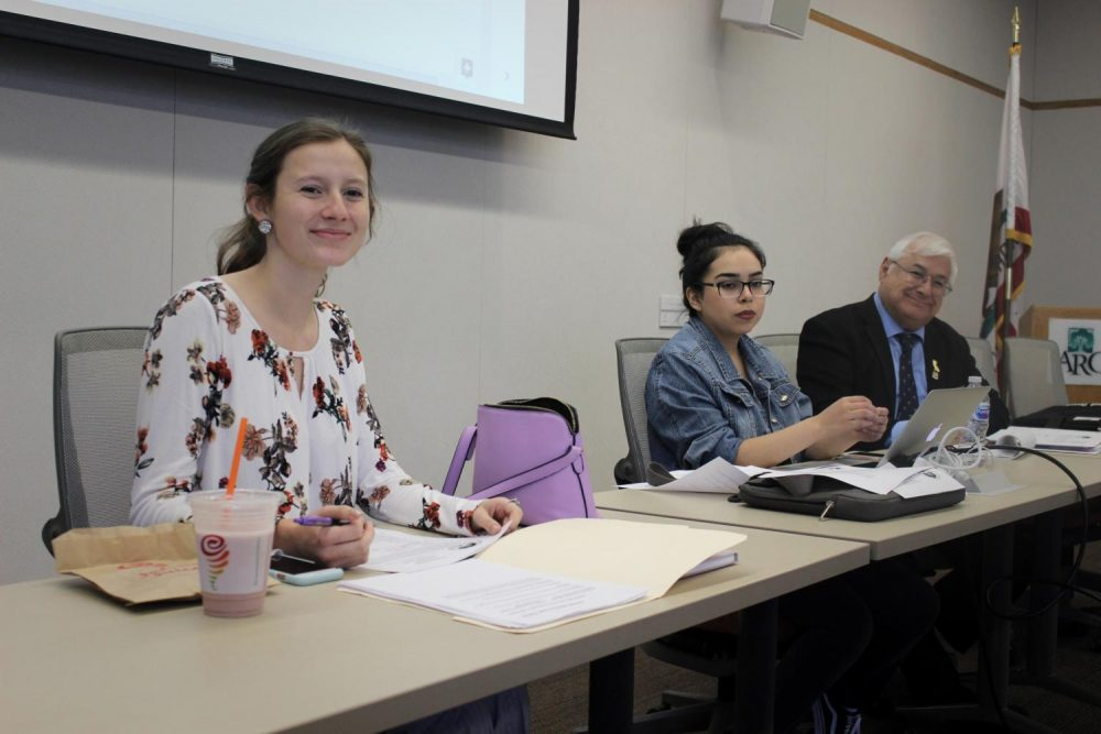 The Associated Student Body Senate President Rebeca Rico-Chavez sat between Vice President Elena DeNecochea (left) and Parliamentarian Lorenzo Cuesta (right) at the front table of the board meeting at American River College on Sept. 14, 2018. Rico-Chavez was chosen to attend the Student Senate for the Fall ​2018 California Community Colleges General Assembly as ARC's delegate.   (Photo by Ashley Hayes-Stone)