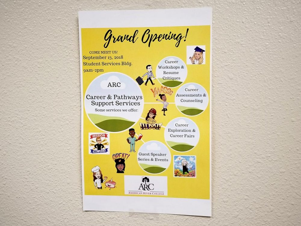 A flyer detailing the activities being offered during the Career and Pathways Support Services' grand reopening Thursday hangs in a hallway at American River College on Sept. 11. (Photo by Christian Sutton)