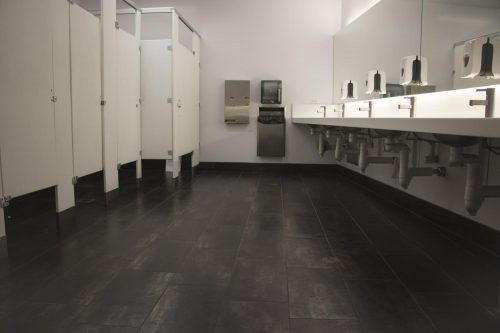 A nicely lit restroom awaits students in the Fine and Applied Arts building at American River College on Sept. 11, 2018. (Photo by Ashley Hayes-Stone)