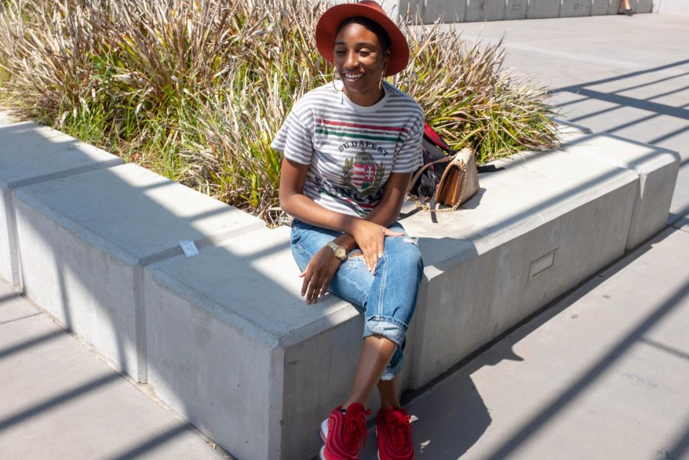 Psychology Major, Delashawn Taplin wears fall colors outside the Student Center at American River College on Aug. 28 (Photo by Patrick Hyun Wilson)