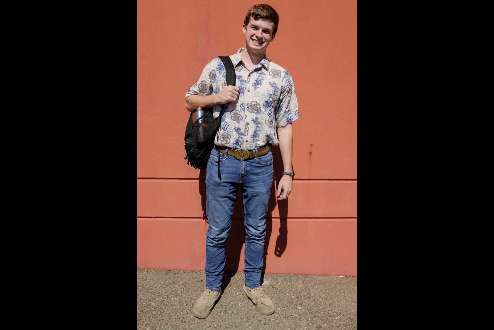 Skylar Ryan hasn't decided his major but has decided his style. He wears a Hawaiian shirt with heavy jeans and boots at American River College on Aug. 29.