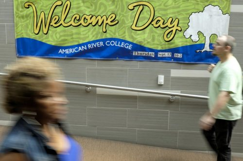 A Welcome Day banner hangs in the Student Center informing students about the upcoming event at American River College on Sept. 10 2018. (Photo by Patrick Hyun Wilson)