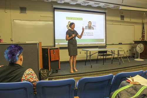 Emilie Mitchell, a professor of psychology and coordinator for the Pride Center, led the LGBTQ+ ally training on Sept. 20, 2018. (Photo by Hannah Yates)