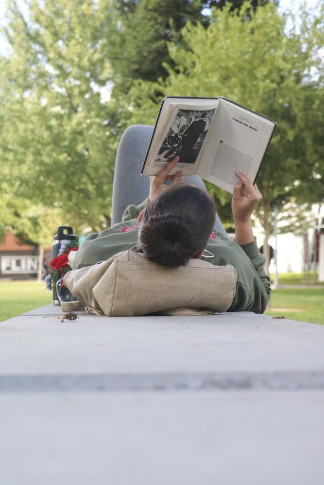 A student enjoys a book near the bookstore at American River College on Oct. 4, 2018. (Photo by Felix Oliveros)