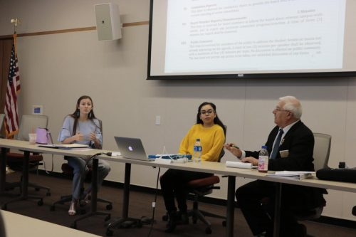 Associated Student Body Vice President Elena DeNecochea shares ideas regarding the advocacy campaign to the board members at American River College on Oct. 5, 2018. (Photo by Hameed Zargry)