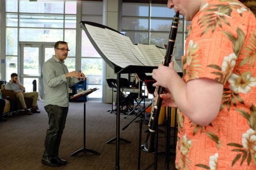 Dyne Eifertsen leads the American River College Latin Jazz Ensemble in the Student Center on Oct. 11. (Photo by Patrick Hyun Wilson)