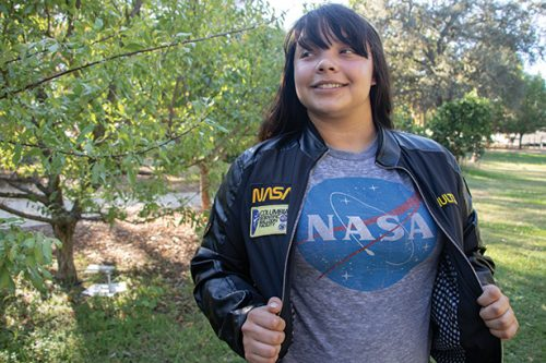 Jessica Shults, an astrobiology major at American River College, was part of the SSGX team. She hand-soldered components and designed logos for the project, which she wore as patches on her team jacket on Oct, 9,2018. (Photo by Ashley Hayes-Stone)