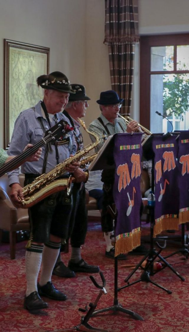 """From left to right: Phil Calentine, Tom Carpenter, """"Manny"""" and  """"Kas"""", members of the band """"Your Musical Memories,"""" that specializes on music from the 20s, 30s, and 40s.  Calentine played the tuba and bass and said that they play on different venues and programs with music that people remember from those years ago. One of the most popular songs within the residents of the Oakmont of Carmichael was """"My favorite things"""" from the Song of Music."""