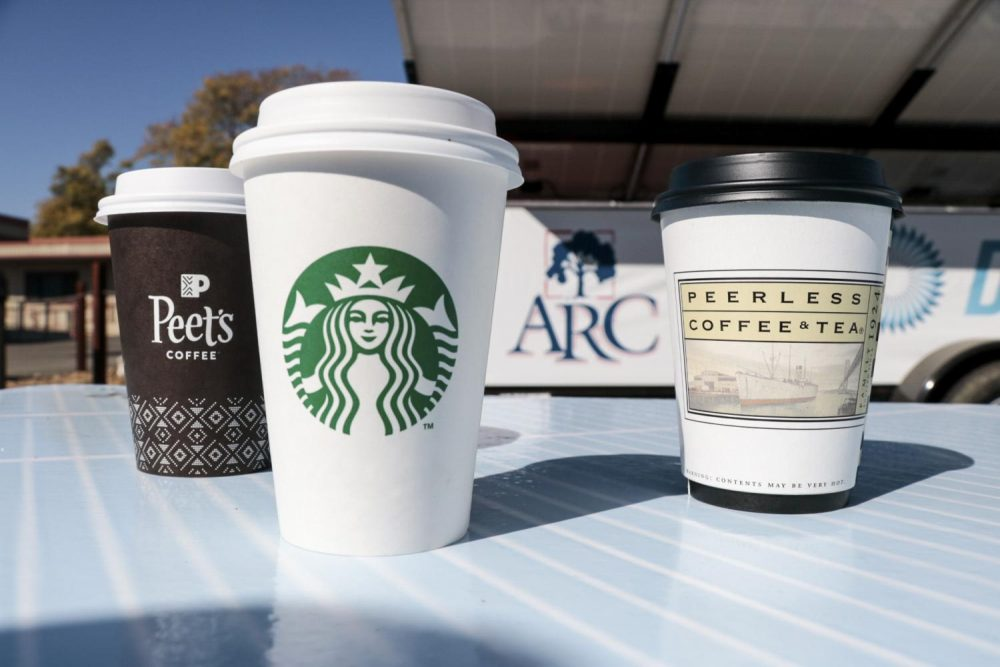 The Oak Cafe, Peet's Coffee, and Starbucks are the three coffee shops at American River College and all have different strengths and weaknesses. (Photo illustration By Felix Oliveros)