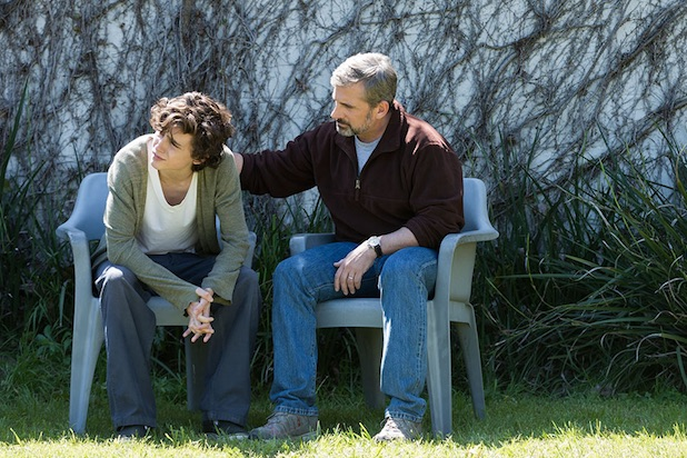 Timothee Chalamet and Steve Carell in Beautiful Boy. Film still photograph courtesy of Amazon Studios.