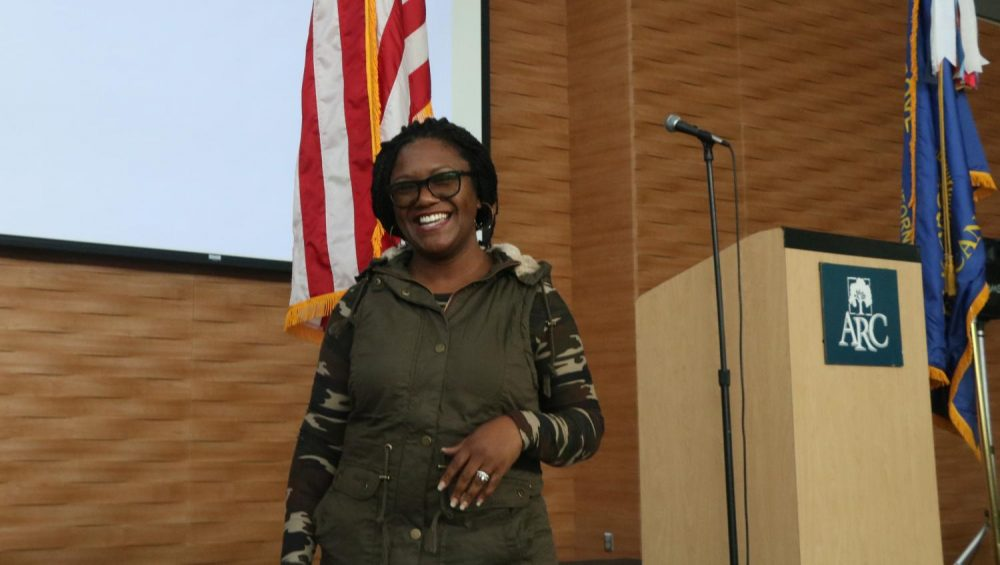 Benita Wilson, who served at Travis Air Force Base, volunteers to sing the national anthem and celebrate women in the military in the Student Center at American River College on Oct. 27, 2018. (Photo by Christian Sutton)
