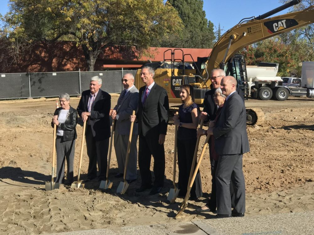 President Thomas Greene and the stakeholders for the new Science, Technology, Engineering and Mathematics facility break ground for the buildings construction on the morning of Nov. 5, 2018 at American River College. The STEM facility is scheduled to be completed by 2020. (Photo by Tracy Holmes)