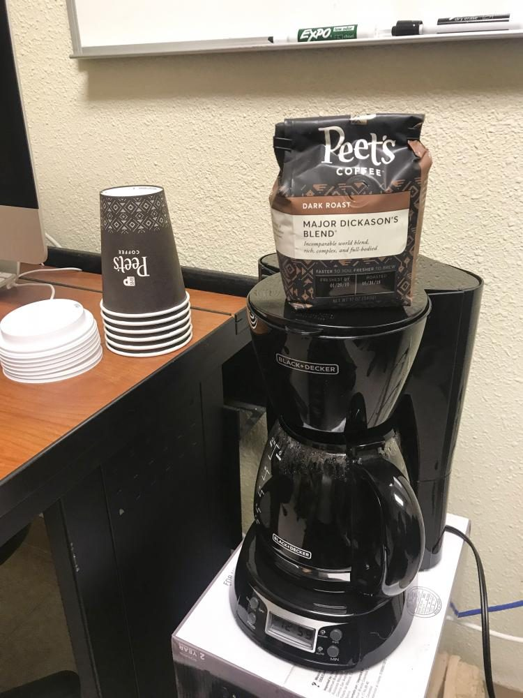 The American River Current has a new coffee pot in the newsroom to help us put together our last issue of this semester. (Photo by Alexis Warren)
