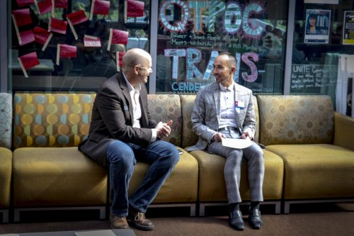 President Thomas Green (left) disscusses happenings at the Equity and Inclusion Town Hall Summit with Joshua Moon Jonson, dean of student services (right) in the Student Center at American River College on Oct. 26, 2018. (Photo by Tracy Holmes)