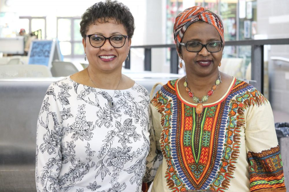 Counselors Nimo Ali and Judy Mays represent  the Umoja Sakhu Club during the Historically Black College and Universities Transfer Fair in the Student Center at American River College on Nov. 2, 2018. (Photo by Breawna Maynard)
