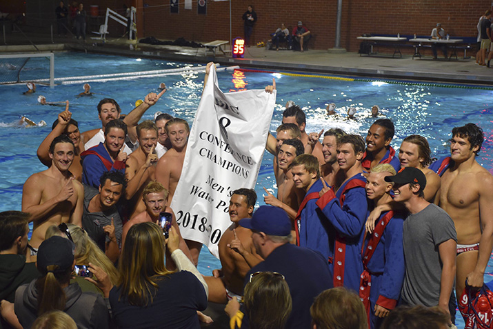 The men's water polo team celebrates their win of the Big 8 Conference Championship on November 1, 2018, at American River College. (Photo courtesy of Daria Atraseva)