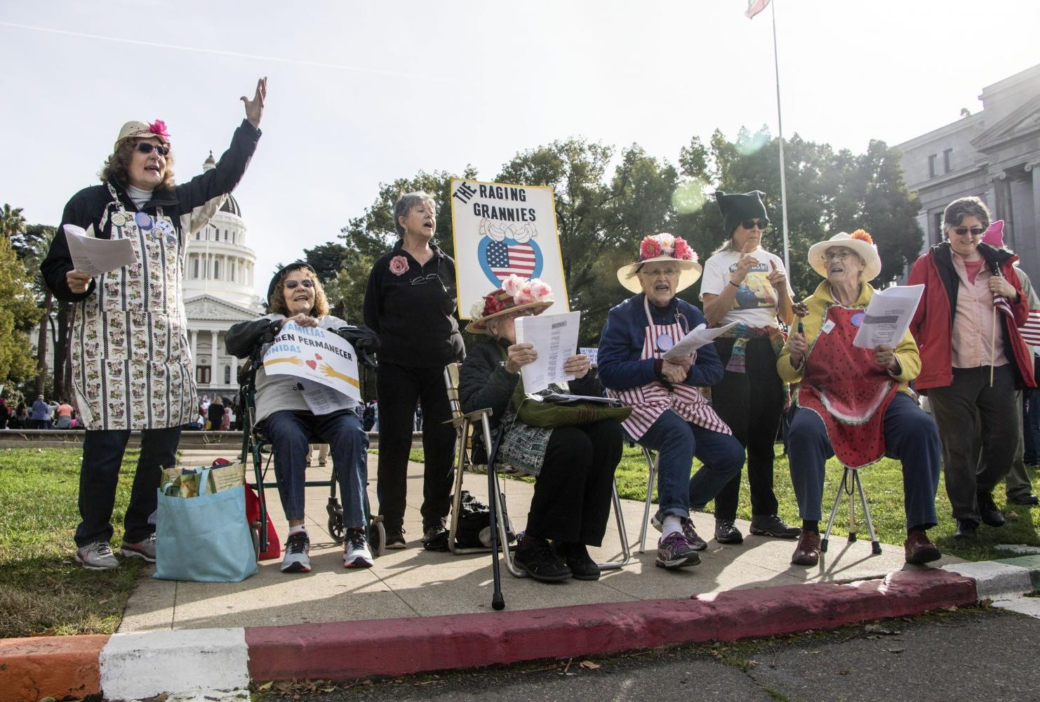 "An activist organization ""The Raging Grannies""  sing protest songs about President Trump in front of the California State Capitol during the third annual Women's March."