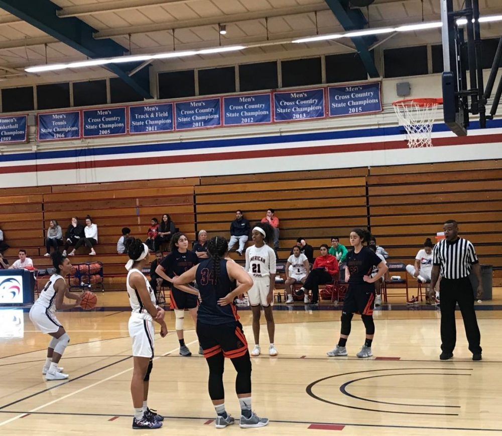 Miyah Williams, No. 3, gets ready to shoot a free throw. American River College beat Cosumnes River College 66-52 at ARC on Jan. 18. (Photo by Alexis Warren)