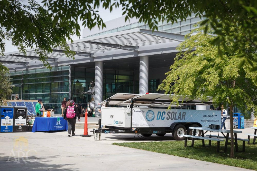DC Solar set up a trailer for display at American River College's 2017 Earth Day Celebration in front of the Student Center. (Photo courtesy of Don Reid / Sustainability at ARC)