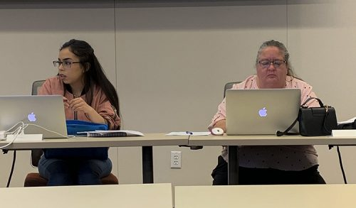 President Rebeca Rico-Chavez and Parlamentarian Tamara Dunning listen in at the Student Body Senate meeting on Feb. 2 at American River College. (Photo by Gabe Carlos)
