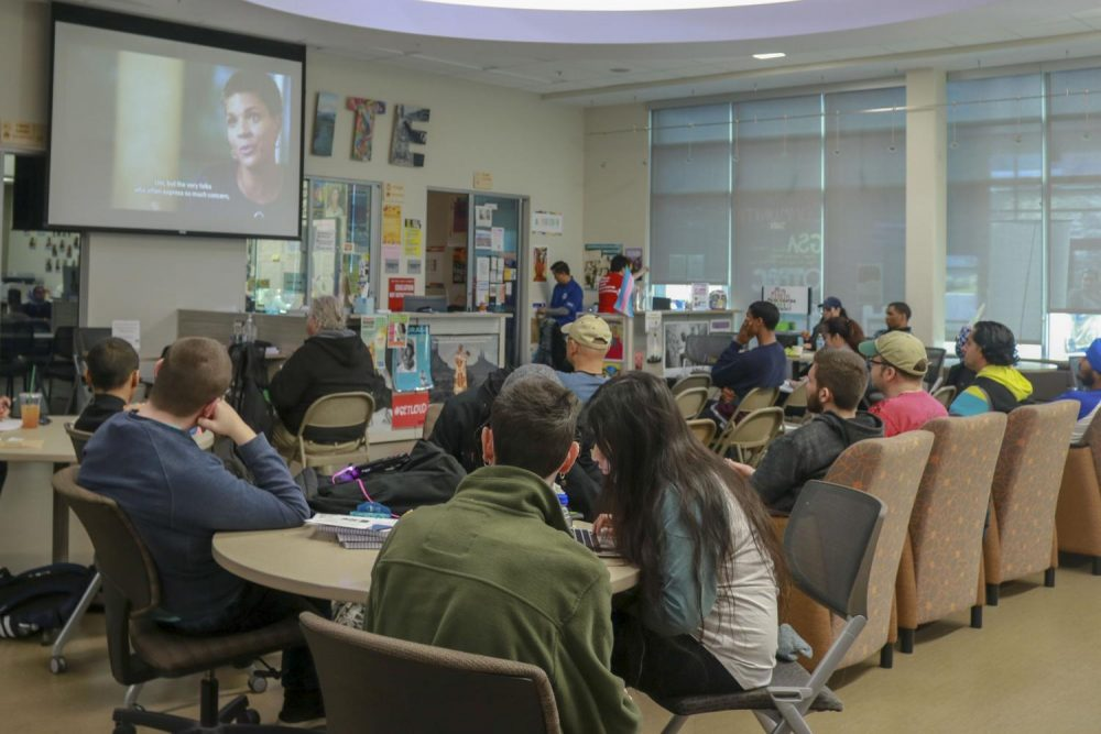 Students+attentively+watch+a+documentary+movie+at+the+Hub+inside+the+Student+Center+that+was+hosted+by+UNITE+for+Black+History+Month+at+American+River+College+on+Feb.+20%2C+2019.+%28Photo+by+Hameed+Zargry%29