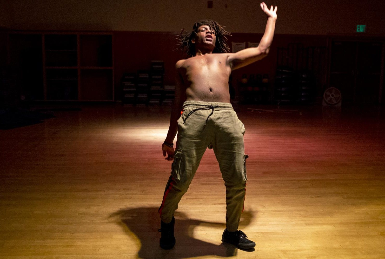 Dance major Latraye Allen performs a hip-hop routine in a dance studio at American River College, on Feb. 6, 2019. Allen is enrolled in the Dance Production: studio and Stage class and says his main focus is in hip-hop dancing. (Photo by Patrick Hyun Wilson)