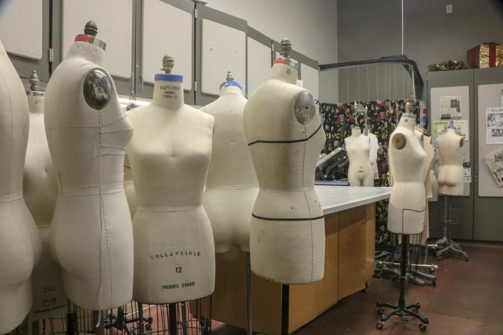 Dress forms are being stored in Arts and Science Room 105, where the Fashion Promotions class works to organize the fashion show, and where the model call will be held on Friday, Feb. 22, 2019. (Photo by Irene Jacobs)