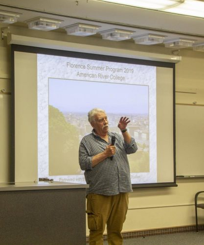 Behavioral and social sciences professor Bill Wrightson gives a presentation about the study abroad program to Florence, Italy during a college hour at American River College on Feb. 7, 2019. (Photo by Hameed Zargry)