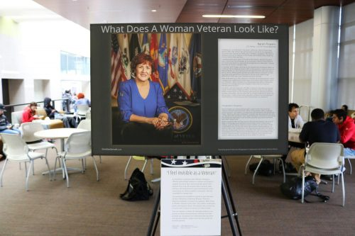 To celebrate Women's History Month, the Veterans Resource Center placed multiple displays in the lobby of the student center at American River College on March 4, 2019, to honor female veterans and their accomplishments, in and out of the armed forces. An example of one these veterans is Karen Flowers, who is the Supervisor of Public Contact of the Veterans Service Center in Oakland. (Photo by Thomas Cathey)