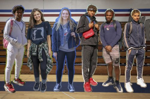 American River College students show how they style athleisure. From left to right: Chris Bush, Erika Beknazarov, Coleen Francis, Larynz Stallworth, Jalyn Norris, Jalin Wiggins. (Photo illustration by Irene Jacobs)