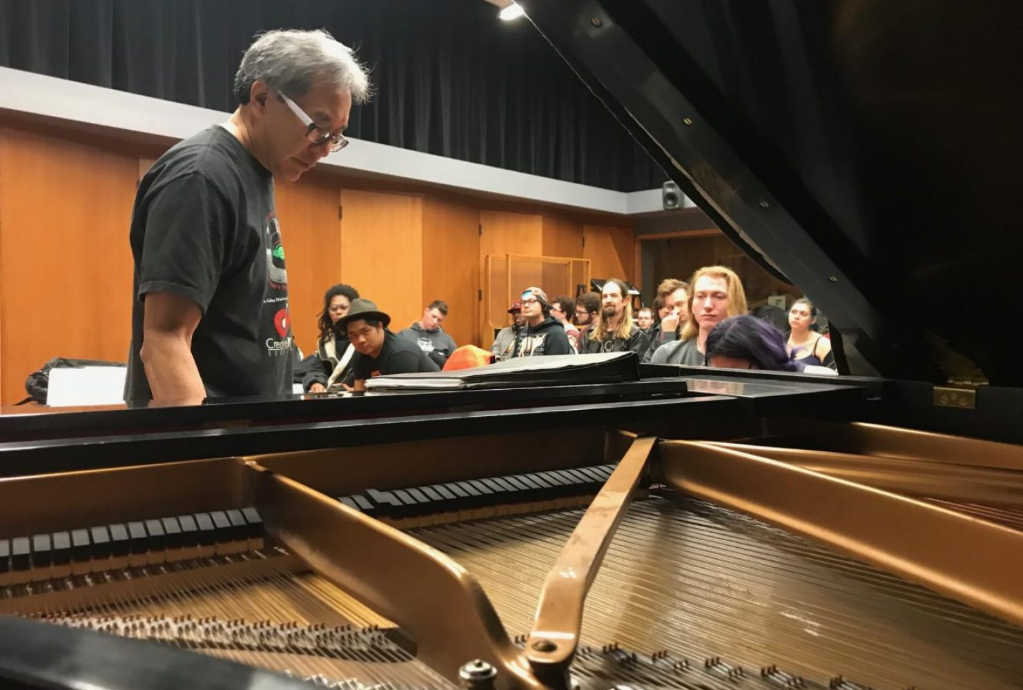 Chair of the music department Eric Chun teaches on how to write chord progressions during his songwriting class, MUSM 120 on Feb. 25, 2019 at ARC. (Photo by Ariel Caspar)
