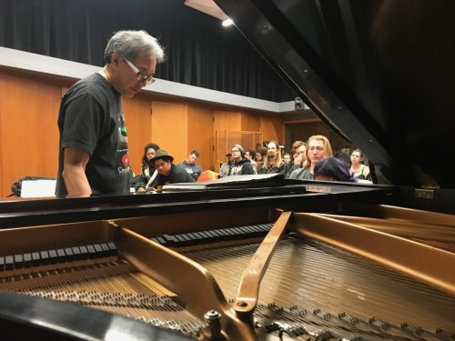 Chair of the music department Eric Chun teaches students how to write chord progressions during his songwriting class, MUSM 120, on Feb. 25, 2019 at American River College. (Photo by Ariel Caspar)