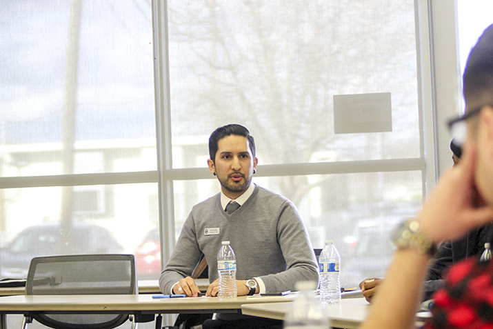 Josef Preciado, the Director of California Apprenticeship Initiatives at American River College, speaking to the group of men at the workshop about networking at ARC on Feb. 28, 2019. (Photo by Breawna Maynard)