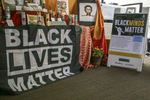 A banner for the Black Minds Matter event is set up next to the Black Lives Matter display shown in the Student Center at American River College on March 6, 2019. (Photo by Anthony Barnes)