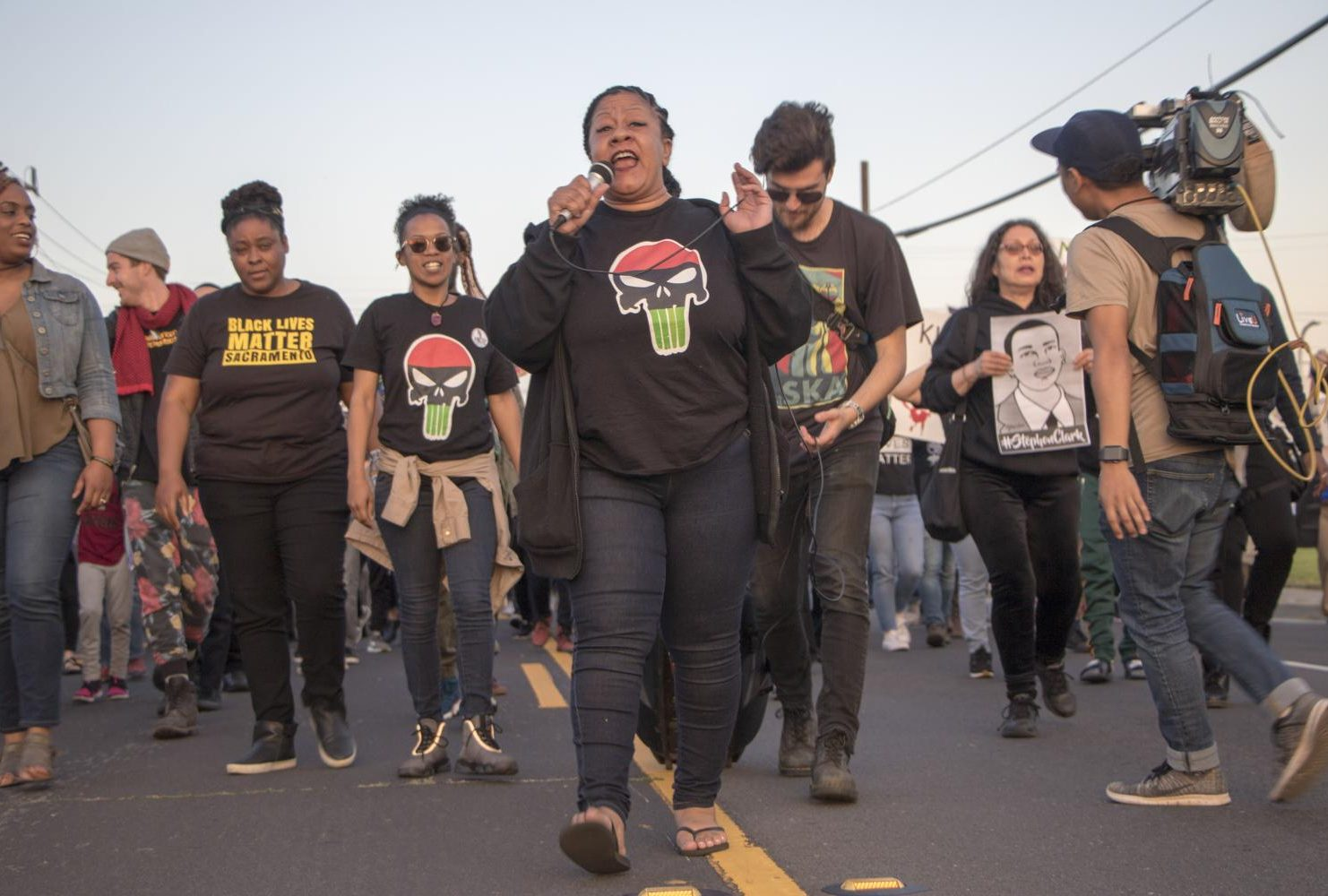 Black Lives Matter Sacramento organizer Tanya Faison leads hundreds of demonstrators down Meadowview Road during the one year anniversary of Stephon Clark's death in South Sacramento, Calif. on March 18, 2019. 22-year-old Clark was fatally shot by two Sacramento police officers in his grandparents' backyard in the South Sacramento neighborhood of Meadowview on March 18, 2018. (Photo by Ashley Hayes-Stone)