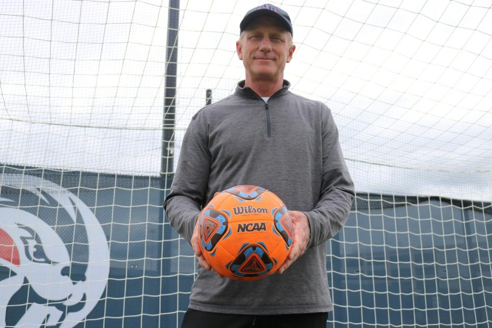 American River College men's soccer coach Paul Hansen has played on professional teams and has coached ARC soccer teams for over 20 years. (Photo by Emily Mello)