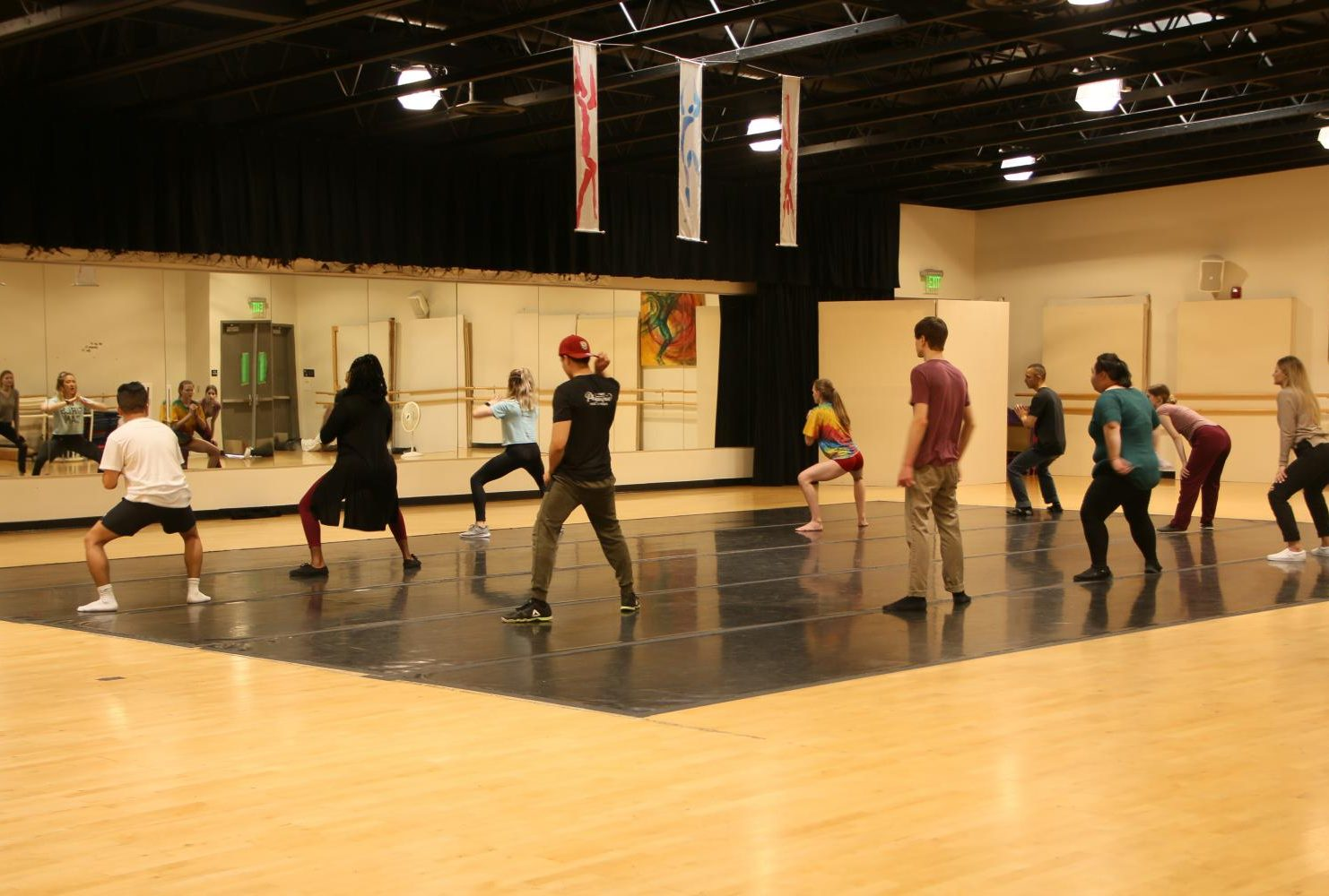 "An American River College dance class practices to Ariana Grande's song ""Break Free"" in the gym at ARC on April 23, 2019. (Photo by Emily Mello)"