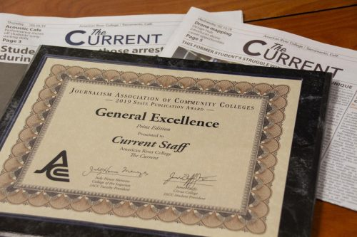 The American River Current brought home 13 publication and on-the-spot competition awards, including general excellence, from the Journalism Association of Community Colleges State Convention from March 28 to 30, 2019. (Photo by Jennah Booth)