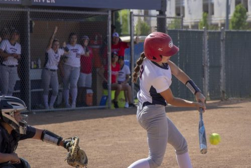 American River College second basemen Elena Avila hits a single in the bottom of the sixth inning against San Joaquin Delta College. (Phot by Emily Mello)