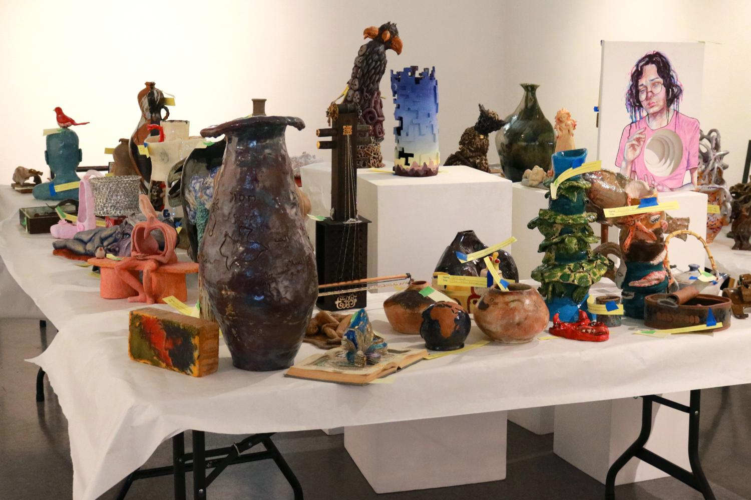 The Kaneko Gallery at American River College is currently hosting its 2020 student art show online due to the campus shutdown. Pictured here is a collection of artwork for 2019's show.(Photo by Thomas Cathey)