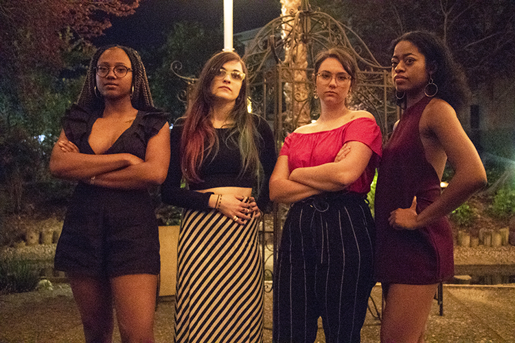 Current editors (from left to right) Alexis Warren, Hannah Yates, Jennah Booth and Imani Smith are unapologetic about being assertive in the newsroom. (Photo by Ashley Hayes-Stone)